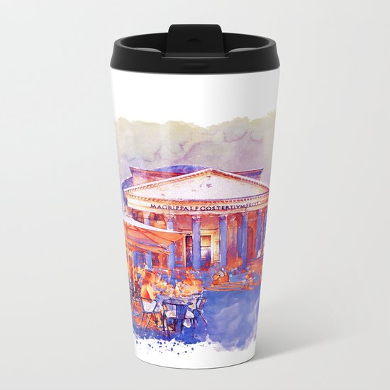 The Pantheon Rome Watercolor Streetscape Metal Travel Mug