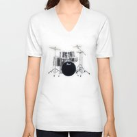 drums V-neck T-shirts featuring Pearl Drums  by good music