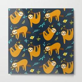 Cute Animal Lover Sloth Hanging Around Being Cool Pattern Design Metal Print
