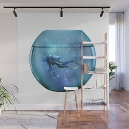 Diver in a fishbowl Wall Mural