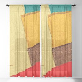 Colorful Textile Patches. Red, Green, Yellow Colors. Natural Abstract Art Sheer Curtain