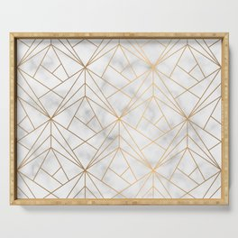 Geometric Gold Pattern on Marble Texture Serving Tray