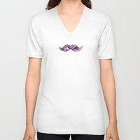 mustache V-neck T-shirts featuring Mustache by Ajans Magazin