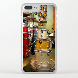 Drum set in a music shop Clear iPhone Case
