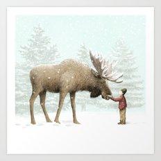 Winter Moose Art Print
