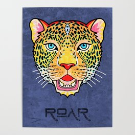 Roar / Retro Wild Cat Poster