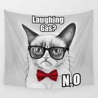 chemistry Wall Tapestries featuring Grumpy Chemistry Cat by Olechka