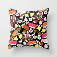 sushi Throw Pillows featuring Sushi! by thickblackoutline