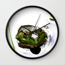 Frog peeking out of the water Wall Clock