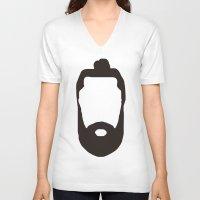 beard V-neck T-shirts featuring Beard by jorgeink