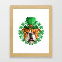 Bulldog Saint Patricks Day Framed Art Print