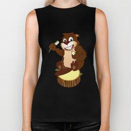 Beaver cartoon character with a toothbrush Biker Tank
