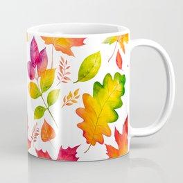 Fall Leaves Watercolor - White Coffee Mug