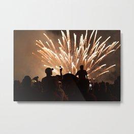 People enjoying fireworks show Metal Print