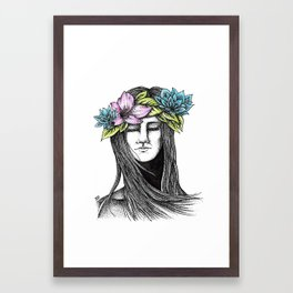 Girl with flowers Framed Art Print