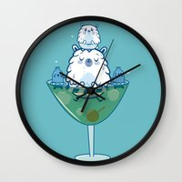 martini Wall Clocks featuring Martini PBear by OLLA BOKU
