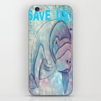 manatee iPhone & iPod Skins featuring Whimiscal Manatee by Judy Skowron