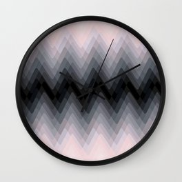 Zigzag. Peach, grey, black Ombre. Wall Clock