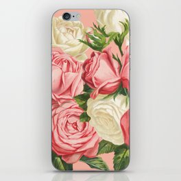 Coral pink blush cream ivory and green summer big roses iPhone Skin