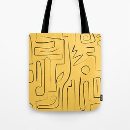 black n Yellow abstract lines Tote Bag