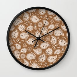 Hedgehog Paisley_Moka Wall Clock