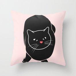 Black Pink Cat Throw Pillow