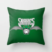 slytherin Throw Pillows featuring Snakes Slytherin by Fresco Umbiatore