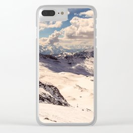 sunny day on the ski slopes of Cervinia Clear iPhone Case