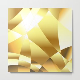 Golden Polygonal Background Metal Print