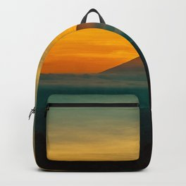 Mountain Volcano In The Distant Green Yellow Orange Sunset Hues Landscape Photography Backpack
