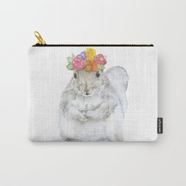 Gray Squirrel with a Floral Crown Watercolor Carry-All Pouch