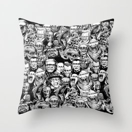 So Many Monsters Throw Pillow