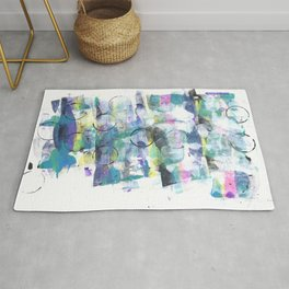 Green Blue Abstract with Black Circles Rug