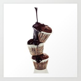 muffins with chocolate sauce over white Art Print