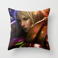 samus Throw Pillows featuring Samus by KlsteeleArt
