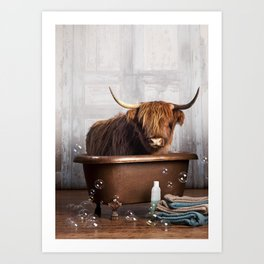 Highland Cow in the Tub Art Print