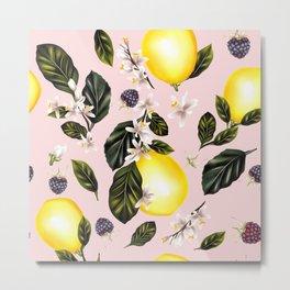 Citrus paradise. Tropical pattern with lemons Metal Print