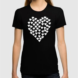 Hearts on Heart White on Black T-shirt