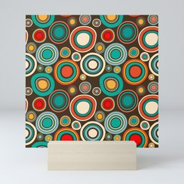 Vintage abstract seamless pattern with round shapes Mini Art Print