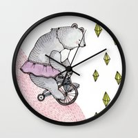 cycling Wall Clocks featuring Cycling Bear by Brooke Weeber