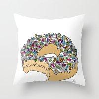 doughnut Throw Pillows featuring Doughnut by Amber Lily Fryer
