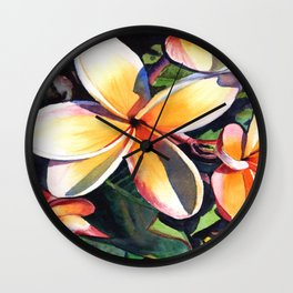 Kauai Rainbow Plumeria Wall Clock