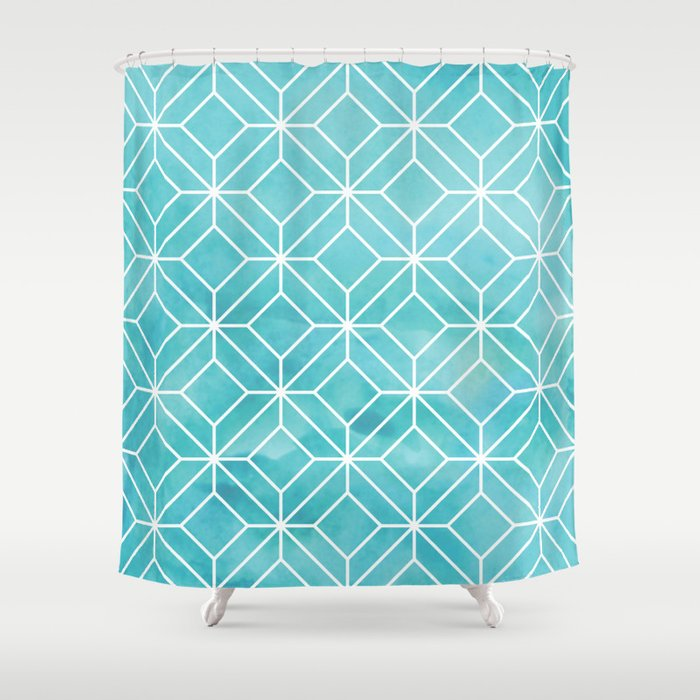Geometric Crystals Sea Glass Shower Curtain