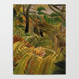 Tiger in a Tropical Storm - Surprised! by Henri Rousseau Poster