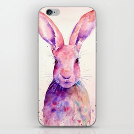 Watercolor Abstract Rabbit Hare blue purple iPhone Skin