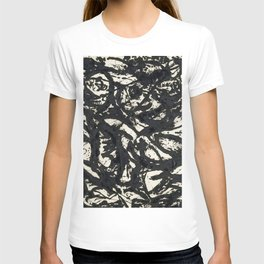 A black and white Jackson Pollock style art digitally vectorised T-shirt