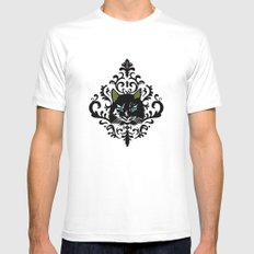 cat damask MEDIUM White Mens Fitted Tee