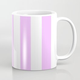 Electric lavender pink - solid color - white vertical lines pattern Coffee Mug