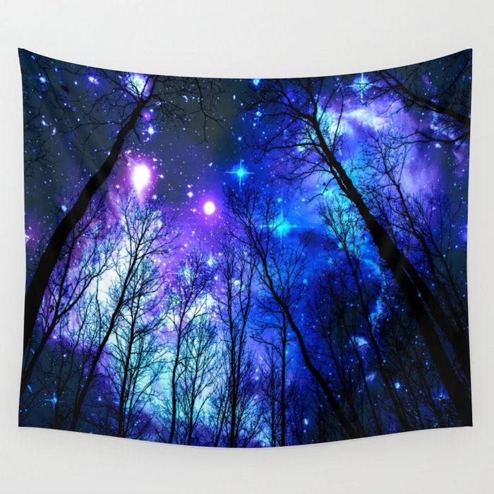 Black Trees Purple Blue Space Wall Tapestry By Vintageby2sweet Society6