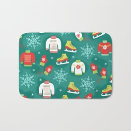Christmas Sweaters, Ice Skates and Mittens Pattern Bath Mat